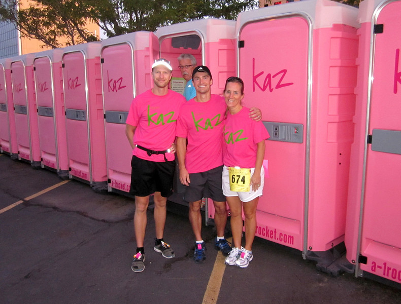Team KAZ-sponsored porta-potties. The poor guy behind us exited right as the photo was taken, and was quite surprised.