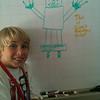 Owen drew a robot at Pops' office (9.16.11)