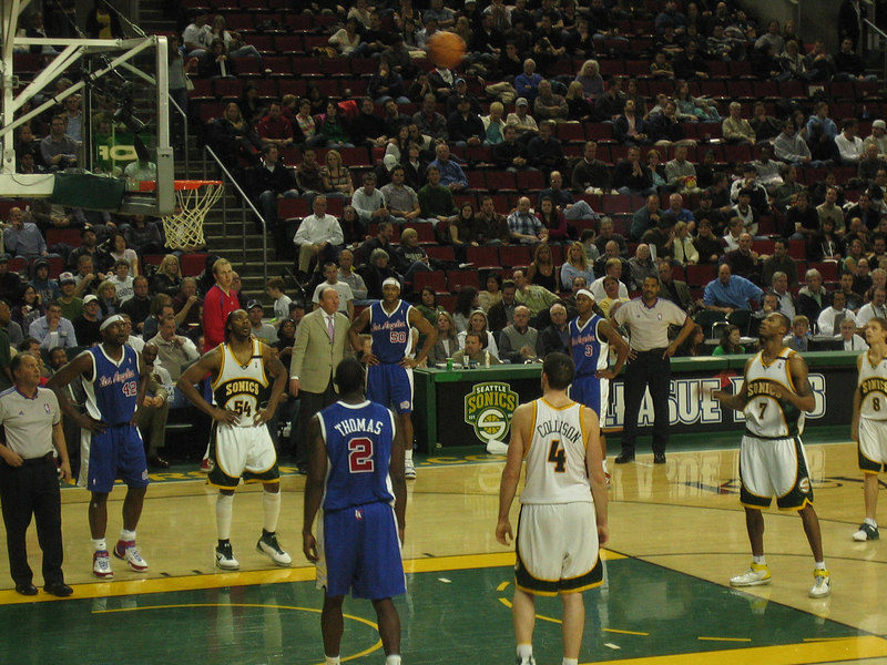 My boss's boss gave me tix to see the Sonics play. Good seats, eh?