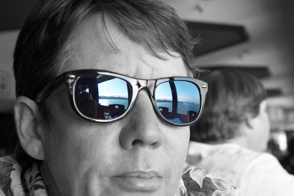 Week 31A: The Santa Barbara Harbor reflected in Steve's sunglasses.