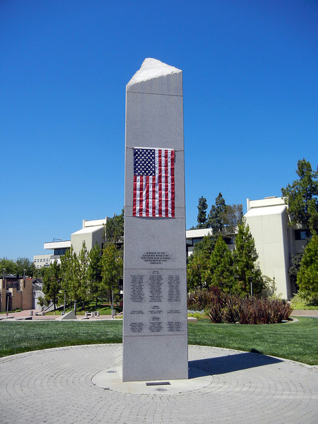 "Week 21: The SDSU War Memorial, taken on the Friday before Memorial Day, 5-27-11. I actually didn't take this photo (but would have had I had my camera), but MarComm did. I walked by it and thought ""damn, why don't I have my camera with me?"" It was really inspiring see the flag on it for the first time."