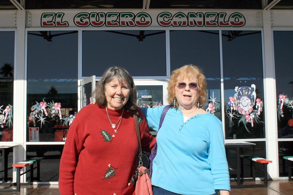 Week 52B: had a Tucson original, a Sonoran hot dog at El Guero Canelo. Here is cousin Peggy and Marion in front of the place. It's like a chili dog on steroids.