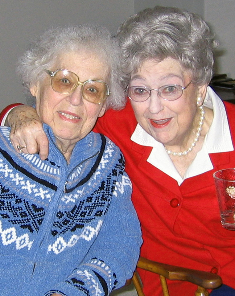 Week 12B: On March 21, our mom's twin, Adelaide died unexpectedly at age 90. It was exactly 12 weeks after mom's passing. The twins are back together again. I took this photo in 2005, and it was the last time the twins saw each other.