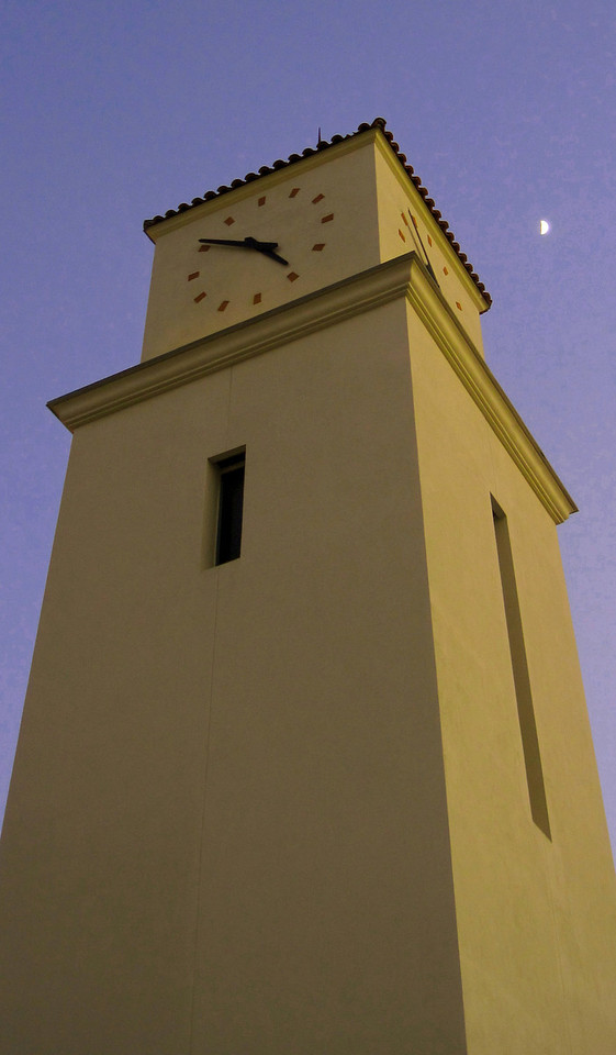 Week 47: Outside my office, at the Student Services building at SDSU; an almost half moon above the clock tower.