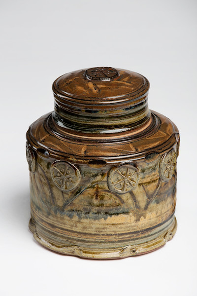 Jar With Lid And Sprig Decorations
