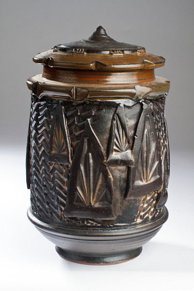 Textured Dark Storage Jar