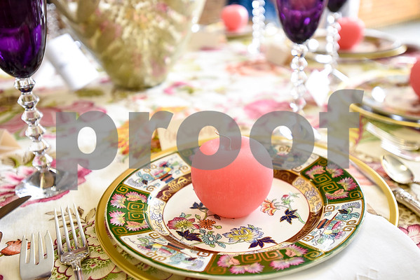 A table setting photographed during a fundraiser for the renewal of the original entrance to the Rose Garden, hosted by the Gertrude Windsor Garden Club at the Rose Garden Center in Tyler, Texas, on Thursday, April 20, 2017. (Chelsea Purgahn/Tyler Morning Telegraph)