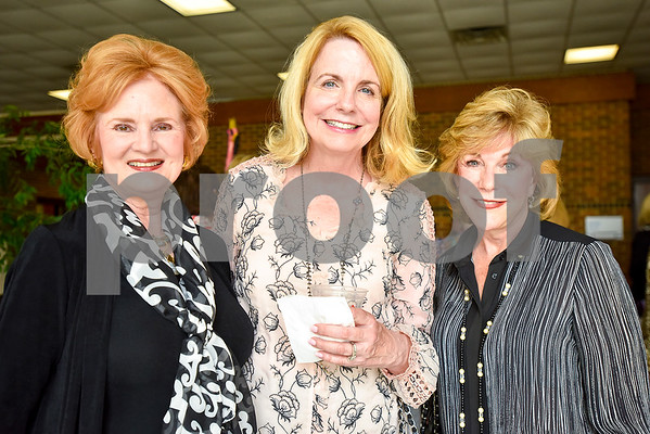 Margaret Stewart, Michelle Jett and Harriet Miller pose for a photo during a fundraiser for the renewal of the original entrance to the Rose Garden, hosted by the Gertrude Windsor Garden Club at the Rose Garden Center in Tyler, Texas, on Thursday, April 20, 2017. (Chelsea Purgahn/Tyler Morning Telegraph)