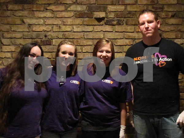 """Amanda Gonzales, Krista Henning, Ashely Kluesner, and Ian Lumpp were volunteers at the fundraiser for Alzheimer's """"A Concert to Remember""""."""