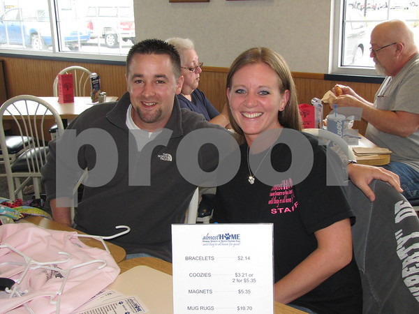 Gerrad Elliott and Tania Dencklau volunteering at the benefit for Almost Home animal shelter held at Culvers restaurant.