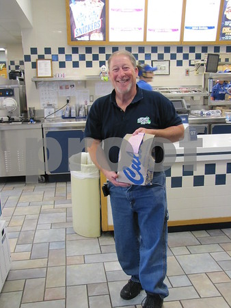 Stumpy Wagner was 'working' delivering meals to diners at the Almost Home animal shelter fundraiser held at Culvers restaurant.