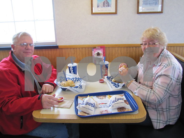 Jerry and Mary Jones enjoy a meal at Culvers.