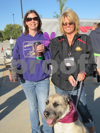Lindsey Lovelace and Judi Johnson with her dog, Murphy Joe.