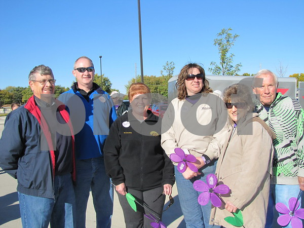 Members of The Messenger before beginning the Alzheimer's Walk.