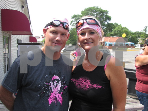 John and Katie Clay before heading out to participate in the 'Angel Ride' to save the tatas.