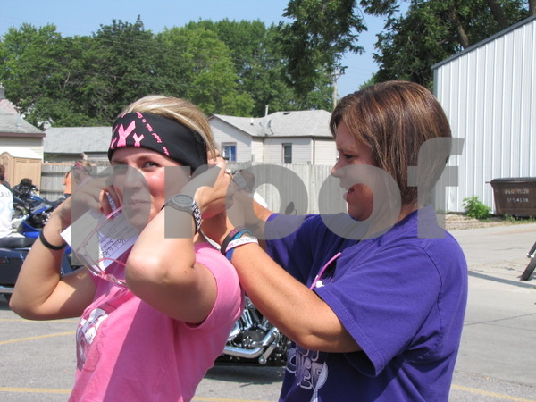 Kaia Wessel and Julie Wooster before heading out on the 'Angel Ride' to save the tatas.