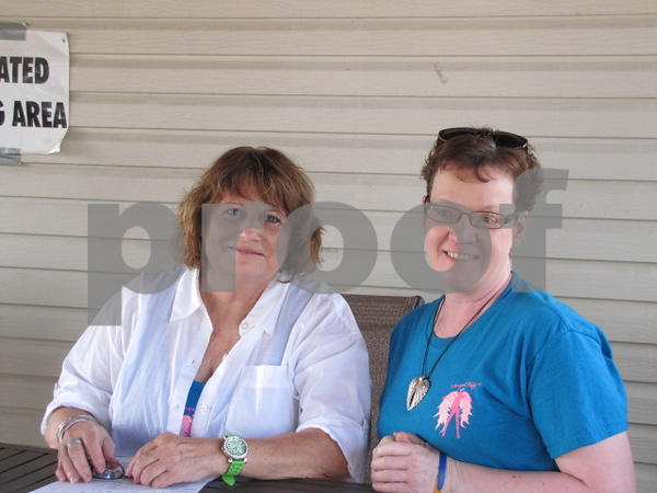 Judy Winninger and Kim Eastwood registered riders for the 'Angel Ride' to save the tatas. The event was held at the Community Pizza in Fort Dodge.