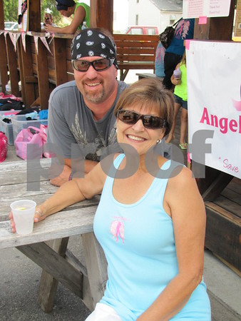 Brad Caruth and Yvonne Witte at the 'Angel Ride' fundraiser held at the Community Pizza in Fort Dodge.