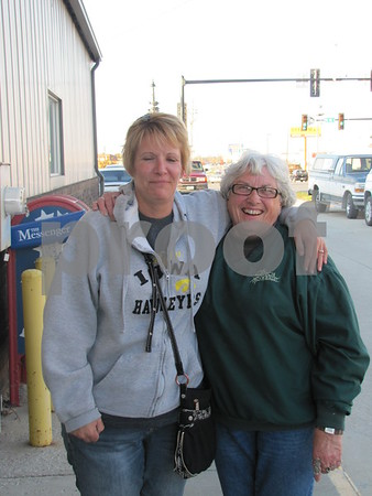 Laura Peterson and Dolores Greves outside VFW Post 1856 in Fort Dodge.
