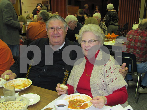 Vern and Mary Plagge enjoyed the soups and pie on election night.