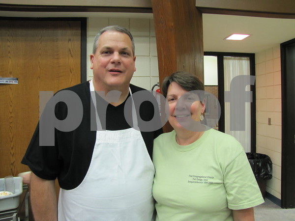 Joe and Caroline Zimmerman at work at the Election Night Soup and Pie Supper at First Congregational UCC.