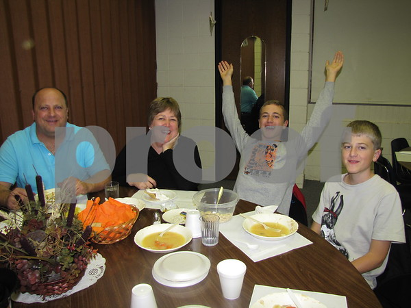 Matt, Justine, Nathan, and Adam Moore enjoyed the soup and pie at First Congregational UCC's Election Night Supper.