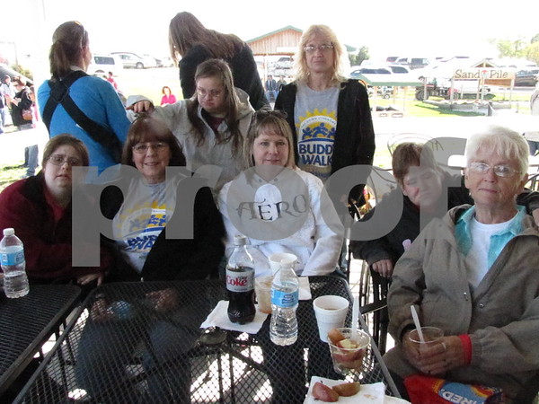 Jordan with mom Mary Potratz, Angie Jessen and her daughter Danielle, and grandma Sheryl Franklin, and in rear Amber with mom Chris Spencer were all out to enjoy a beautiful day at the Orchard for the Buddy Walk.