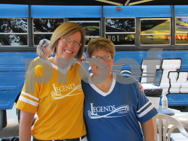 Sue Blanchet and Rhonda Dickinson of Friendship Haven staff working at the Legends Tailgate event.