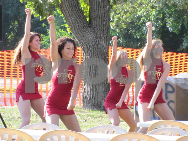 Iowa State cheerleaders performed a cheer for the crowd at Legends Tailgate.