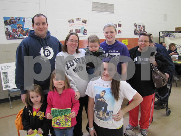 The family of John, Jennifer and Masen Reedy, Mackenzie and Jaci Oberhelmann (rear), Katelyn and Andrea Reedy, and Kiara Wilson (in front) attended the Kiwanis Pancake Day.