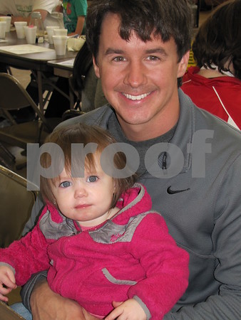 Ben Crimmins and daughter Grace attended Pancake Day, the Noon Kiwanis fundraiser.