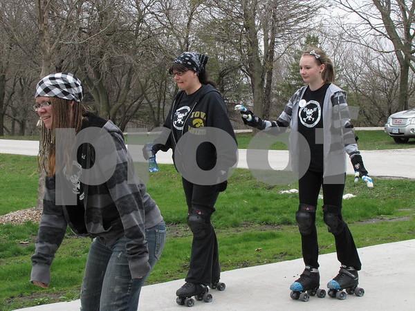 Members of the Dakota City roller blading team.