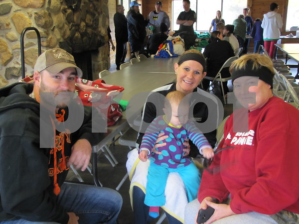 David Steward, Ashley Loehr and Berkly Steward, and Shelby Thornton.  Steward and Loehr were there to cheer on Thornton who would be 'plunging' into the chilly waters to raise funds for Special Olympics.