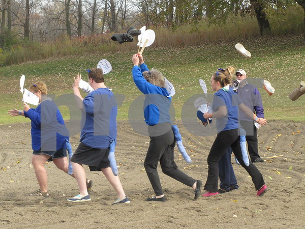 """""""Pete the Cat"""" team charge toward the chilly water!"""
