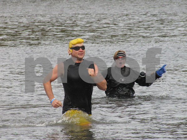 """""""Johnny Bravo"""" aka Jeffrey Halter braved the cold water for a good cause!"""