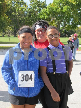 Jersey, Nikkie, and Dalton Summers.  Jersey and Dalton were participating in the 5K.