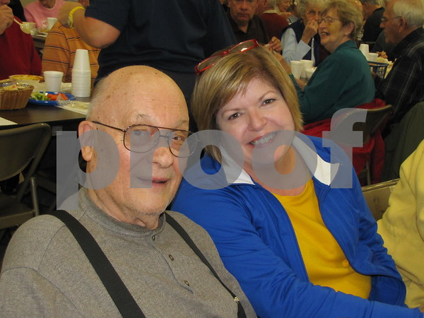 Herb Miller with his daughter-in-law, Carmin Miller at the Soup Supper fundraiser for the Golden Kiwanis.