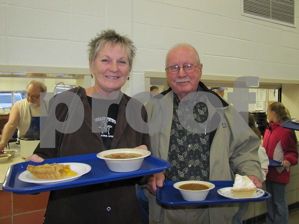 Linda and Lonnie Lasher are all smiles and ready to enjoy the homemade soup and pie at the Golden Kiwanis fundraiser.