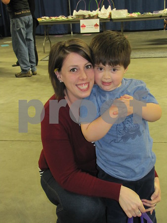 Amanda Becker and her son Jacoby attended the cake auction fundraiser.