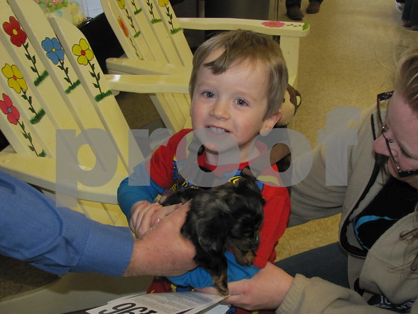Blayre Habhab holds one of the dachshund puppies that were up for auction by Corner Kennels, LLC.