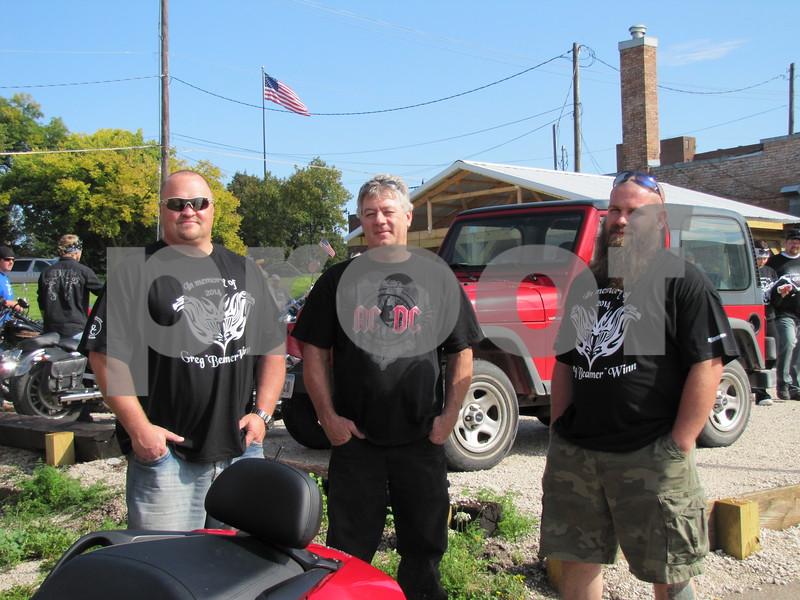 Mike Konvalinda, John Presler, and Justin Hurdel visit before the start of the Fun Run.