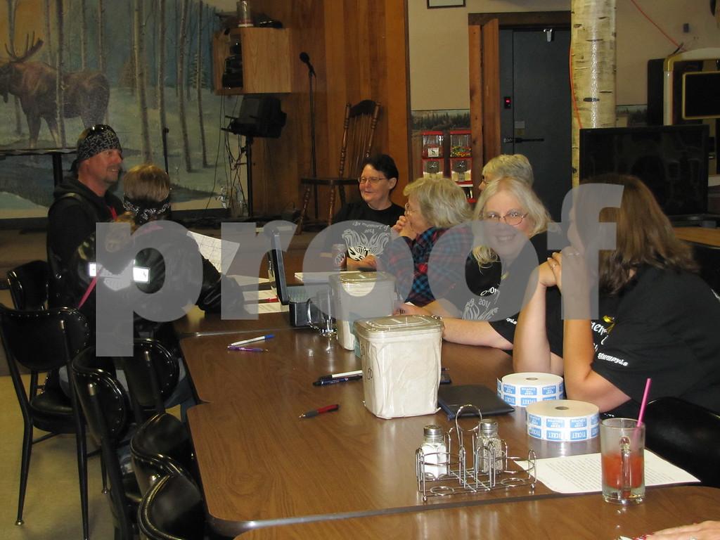 The 'registration crew' for the Greg Beamer Winn Fun Run at the Moose Lodge.