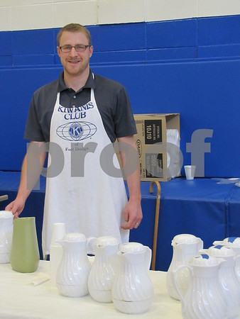 Jeff Haupts served beverages at the annual Kiwanis Pancake Day.