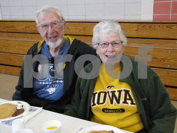 Bob and Donna Pearson are ready to enjoy breakfast at Kiwanis Pancake Day.