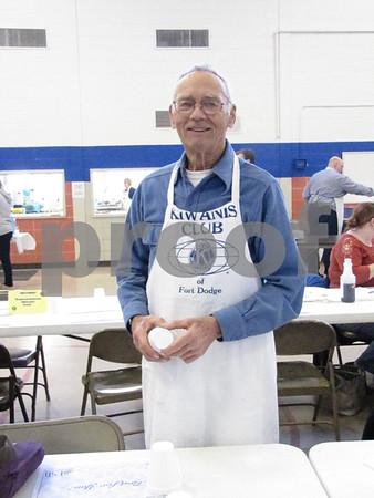 Floyd Herum working at the Kiwanis fundraiser.