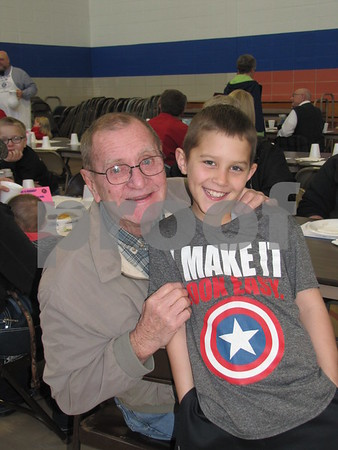 Bob Boeger and his great-grandson Grant Liska at the annual Kiwanis Pancake Day.