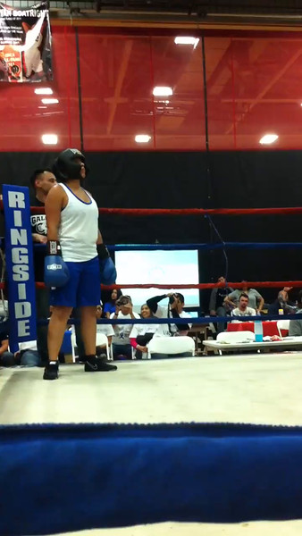 National Latino Peace Officers Association Third Annual Tuition Knock Out Scholarship Fundraising Boxing match with Elgin Police Officer Miriam Uribe vs. Cary Police Officer Tricia Malone at East Aurora High School in Aurora, Ill 11-16-14