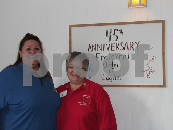 Letitia Christnagel, local president of the Eagles Auxiliary, and Shelley Zimmerman, Iowa State President of Eagles Auxiliary 1398.