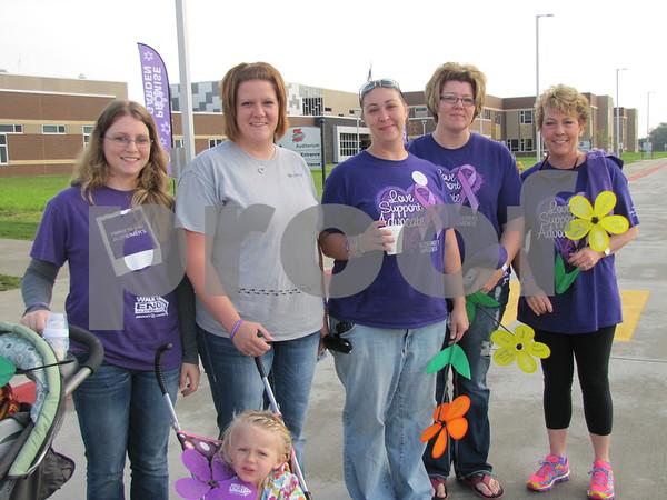 Krystal Simonsen, McKenzie Hager and Emersyn (in stroller), Dustie Anderson, Amy Laube, and Becki Stoudt
