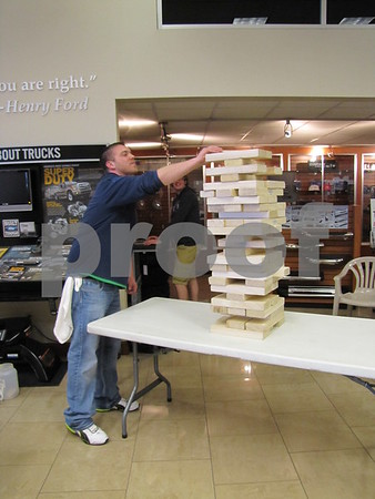 Dan Billingsley brought this giant Jenga game to amuse those near his booth for Sneakers.